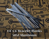 "100-5052 Aluminum 1/4"" x 6"" Bracelet Cuff Blanks - Polished Metal Stamping Blanks - 14G 5052 Aluminum - Flat"