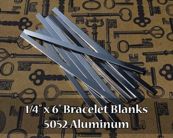 "100-5052 Aluminum 1/4"" x 6"" Bracelet Cuff Blanks - Polished Metal Stamping Blanks - 14G 5052 Aluminum - Flat"