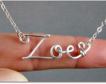 Zoe Wire Word Name Pendant Necklace