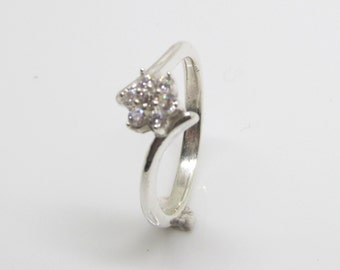 Sterling Silver Cluster Ring , Size J - T