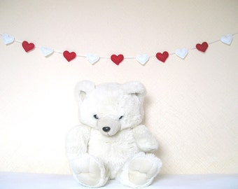 Felt Ornament Hearts garland felt banner bunting red white valentines day wedding party decor