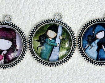 NO.15 - Gorjuss little girl pendant cabochon 5 pcs