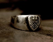 shield ring, rustic ring, silver ring, vintage ring, insignia ring, menly ring, mens ring