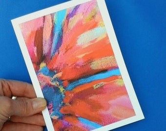 Abstract floral greeting card, printed birthday card, paper goods, art stationery, original artwork, blank greeting card