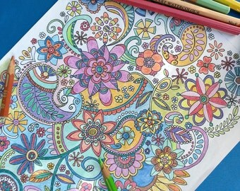 Colouring Page, hippie flowers, instant download for both children and adults, abstract floral doodle art, hand drawn coloring page