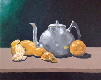 Original painting, acrylic painting, still life, oranges and a kettle, orange and green, 20x24 inch stretched canvas