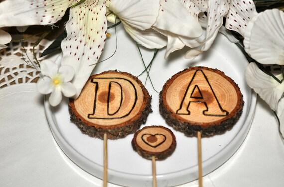 Etsy Cake Decor : Items similar to Rustic Wedding Cake Toppers 3pcs- Wedding ...