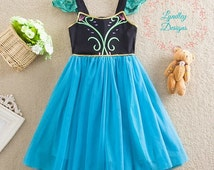 FREE SHIP Girls Frozen Anna Inspired Princess Tulle Dress, Costume