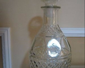 Princess House Pressed, Criss-Cross & Dot Design 2 (Two) 10 inches Tall Decanters