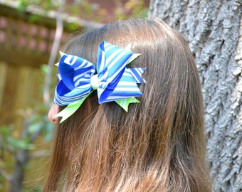 Blue And Green Striped Stacked Boutique Bow