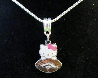 DENVER BRONCOS Hello Kitty 925 Sterling Silver Necklace