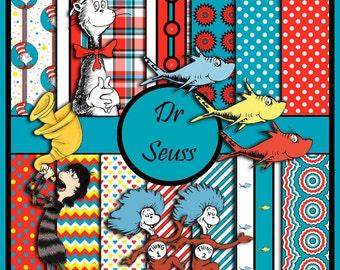 Dr Seuss digital scrapbook paper