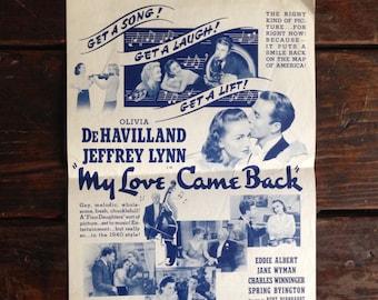 Original 1940's movie theater program - My Love Come Back