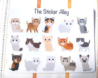 15 Cute Cat / Kitten Stickers (Perfect for Erin Condren Life Planners, Planning and Scrapbooking)