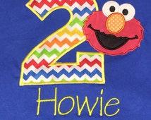 Elmo Sesame Street Applique Embroidery Birthday Shirt