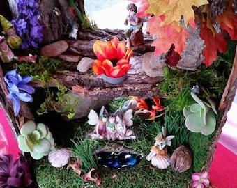 Handcrafted fairy village with elfin friends and woodland animals galore! Fairy village, fairy garden, fairy houses, fairy figures, fairies!