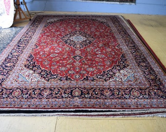 Semi Antique Persian Kashan hand knotted area rug