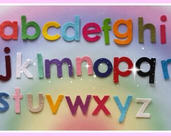 Felt Die Cut Alphabet Set, Upper and Lower Case Alphabet Sets, Mixed Colour Letters,  Pretty Die Cut Craft Embellishment