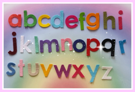 Iron on felt die cut alphabet upper and lower case alphabet for Felt iron on letters for clothing