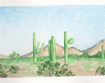 Lonely Cacti   4x6 Original Watercolor