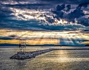 Nautical Photography - Golden Waterfront Sunset | Sun Beams, Golden Sunset, Shimmering Water,