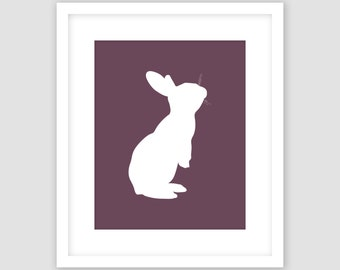 White Rabbit Standing Silhouette on Eggplant Purple Print, Animal Wall Art, Modern Art, Instant Download, DIY, Printable