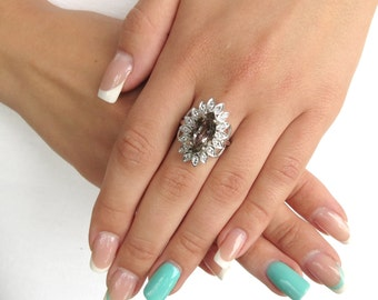 FINAL SALE  50% OFF - Quartz ring  - Boho ring - Silver quartz ring - Smoky quartz ring - Gemstone ring - Boho jewelry