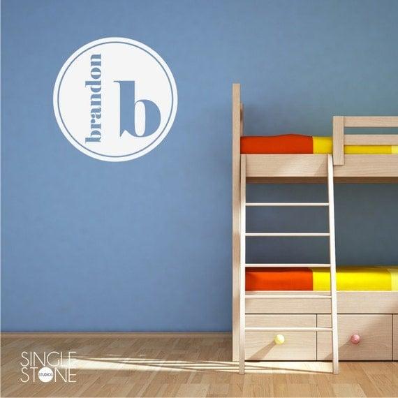 Monogram wall decal modern circle vinyl wall sticker art for Wall stickers decor modern