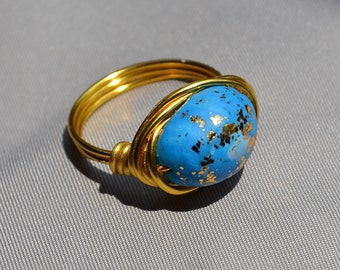 Goldtone wrapped Turquoise and gold stone
