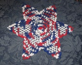 "Patriotic Doily 12"" Americana Hand crocheted Star Doily"