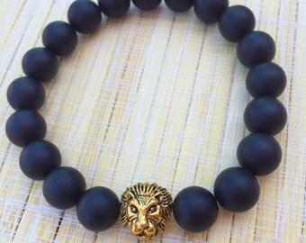 Matte black onyx bracelet for men, lion head bracelet for men, mens beaded bracelet, style for men, mens black bracelet, bracelets for men