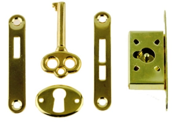 Gold Plated Full Mortise Lock Set Small Box Lock For