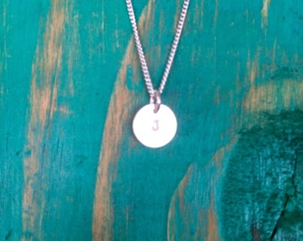 Custom Initial/design metal stamped charm necklace.