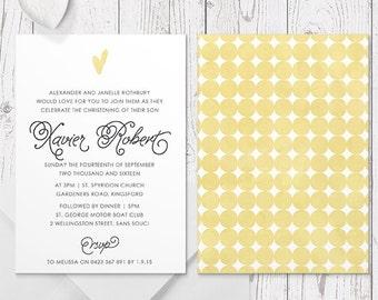 Boy Baptism Invitation or Christening Invitation, Bright Summer Yellow Spots, Printed Professionally, Peach Perfect