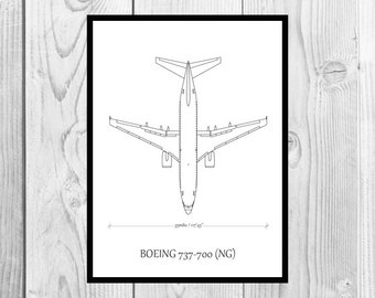 BOEING 737 wall poster - printable art - wall decor - aviation art - airplane - black and white - DIGITAL DOWNLOAD