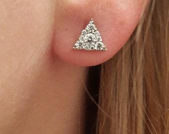 Triangle Earring-Zircon Earring-Sterling Silver Earring