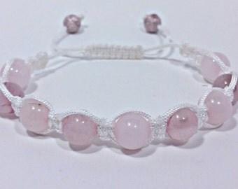 Rose Quartz Crystal Shamballa Bracelet