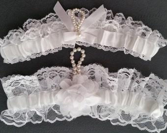 White lace garter set, white satin, white flower, Pearl, Wedding garter, Bridal garter, Prom garter, Garter set, Custom garter