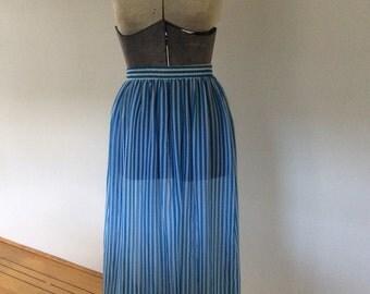 Blue and white narrow stripe sheer long skirt