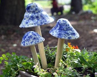 Ceramic Mushroom, Blue and White Mushroom, Old English Garden Stake, Fairy Garden Mushroom, Garden Accessory,  Outdoor decoration