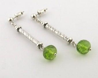 Peridot Long Drop Earrings Sterling Silver Post Earrings Chakra Earrings Chakra Jewelry