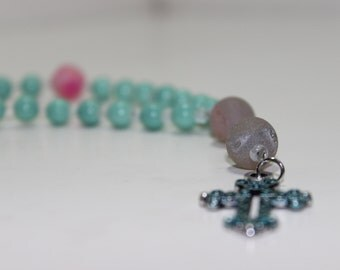 Turquoise and Pink Protestant Prayer Beads w/ Blue Metal Cross Pendant/Anglican Prayer Beads