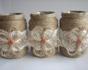 Rustic Wedding Burlap  Jar, Lace and burlap jar, burlap centerpiece,Rustic wedding decor,  country home decor,wedding jars