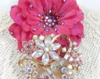 Gorgeous Vintage Pink  AB Baguette Ribbon Flower Brooch Signed KC