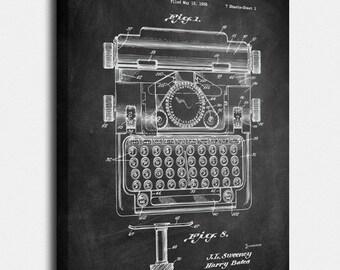 Typewriter Canvas, Typewriter Patent, Typewriter Vintage, Typewriter Blueprint, Typewriter Print, Prints, Wall Art, Decor