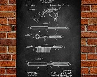 Curling Iron Art Print, Curling Iron Patent, Curling Iron Vintage, Curling Iron Blueprint, Curling Iron Print, Prints, Wall Art, Decor