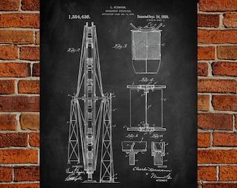 Ferris Wheel Fine Art Print, Patent, Vintage Art, Blueprint, Poster, Wall Art, Poster, Décor
