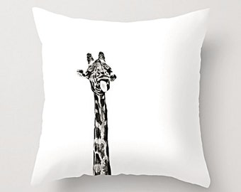 Cushion cover and pillow insert, Funny Giraffe sticking tongue out. Indoor and Outdoor