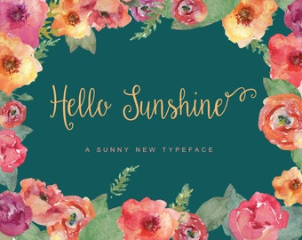 Hello Sunshine Elegant Handwriting Cursive Script Commercial Font download + Freebie Doodles, catchwords, and ornaments