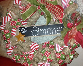 Custom Green and Red Burlap Christmas Wreath